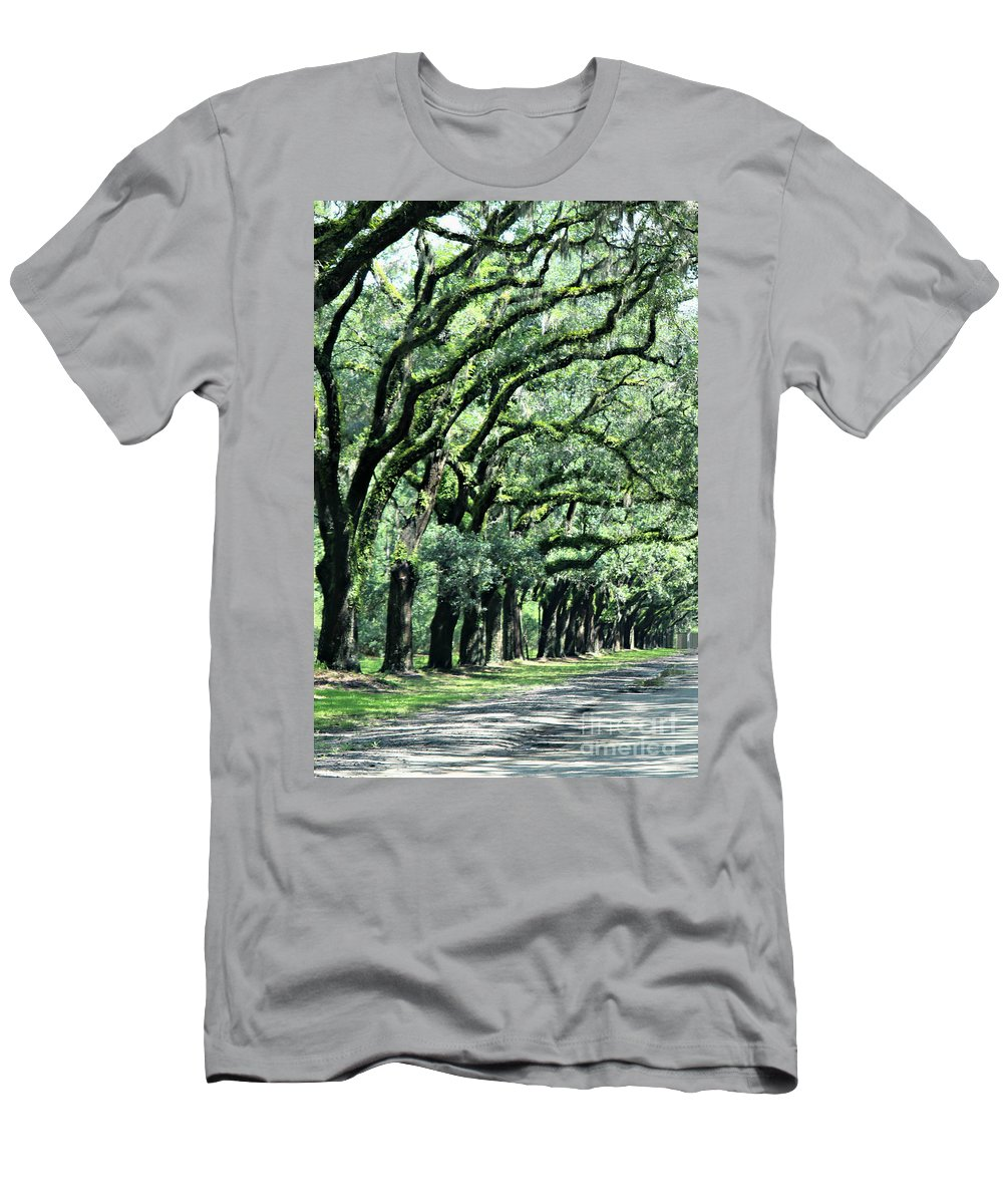 Trees Men's T-Shirt (Athletic Fit) featuring the photograph Wormsloe Georgia No. 7668 1 Of 3 Set Color by Diann Fisher