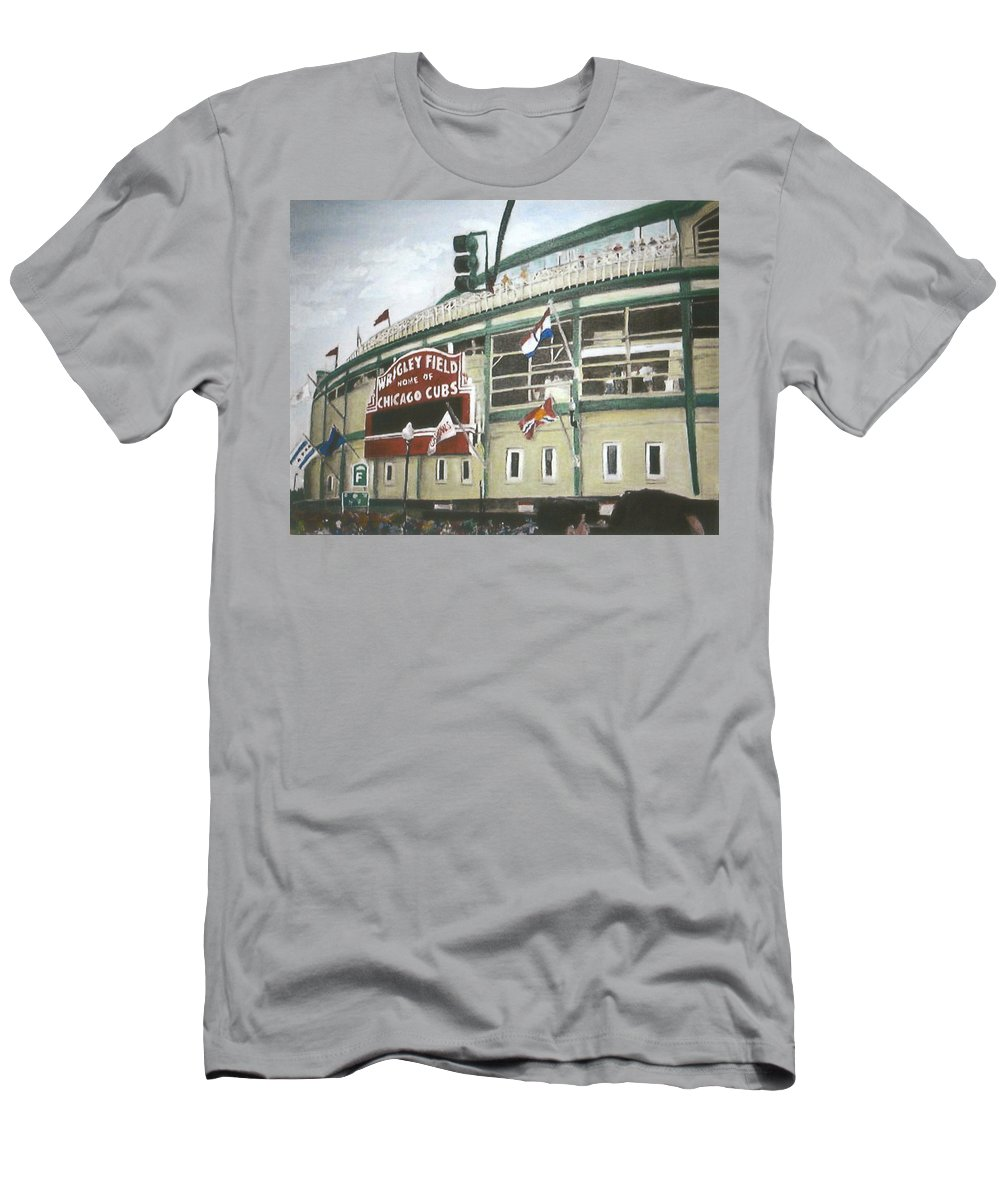 Wrigley Field Men's T-Shirt (Athletic Fit) featuring the painting Wrigley Field by Travis Day