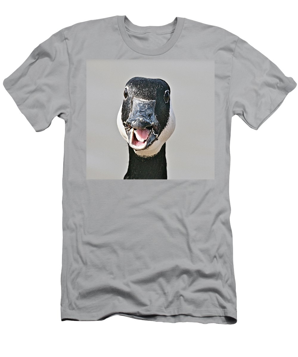 Goose Men's T-Shirt (Athletic Fit) featuring the photograph Wwhhaaat by Robert Pearson