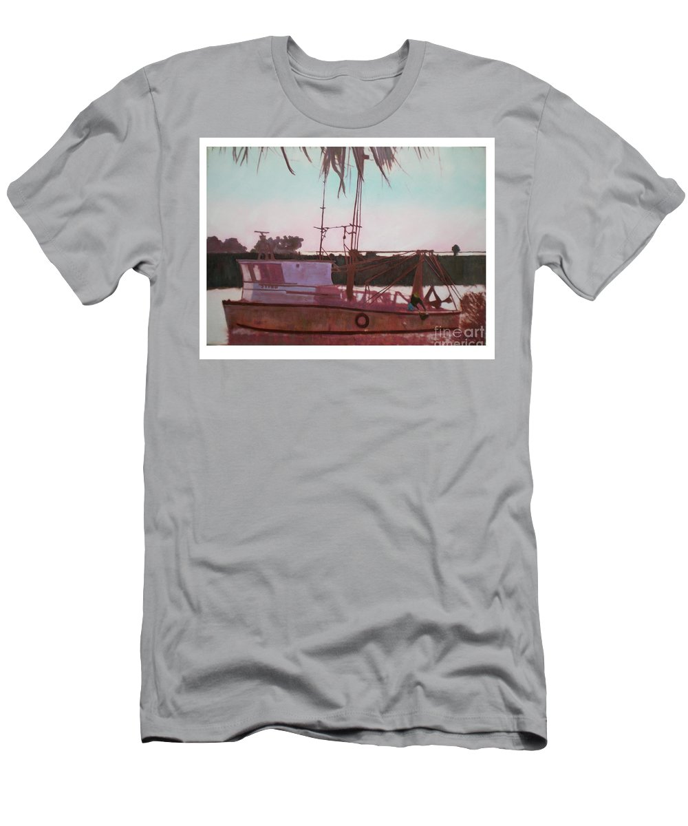 Seascape T-Shirt featuring the digital art Yankee Town Fishing Boat by Hal Newhouser