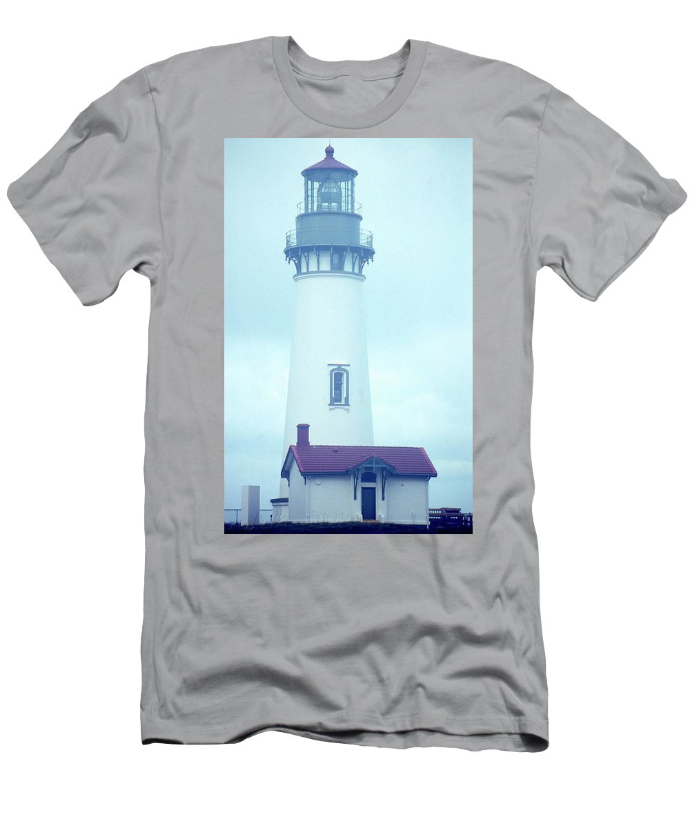 Lighthouse Men's T-Shirt (Athletic Fit) featuring the photograph Yaquina Head Lighthouse In The Fog by Rebecca Renfro