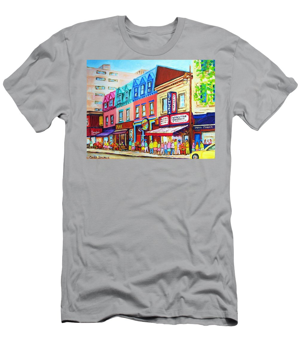 Reastarant Men's T-Shirt (Athletic Fit) featuring the painting Yellow Car At The Smoked Meat Lineup by Carole Spandau