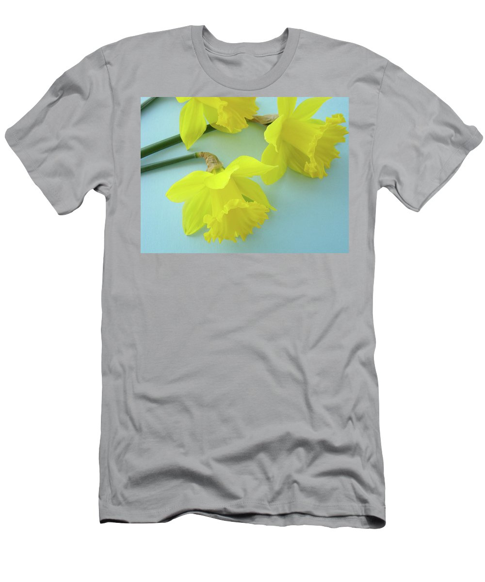 �daffodils Artwork� Men's T-Shirt (Athletic Fit) featuring the photograph Yellow Daffodils Artwork Spring Flowers Art Prints Nature Floral Art by Baslee Troutman
