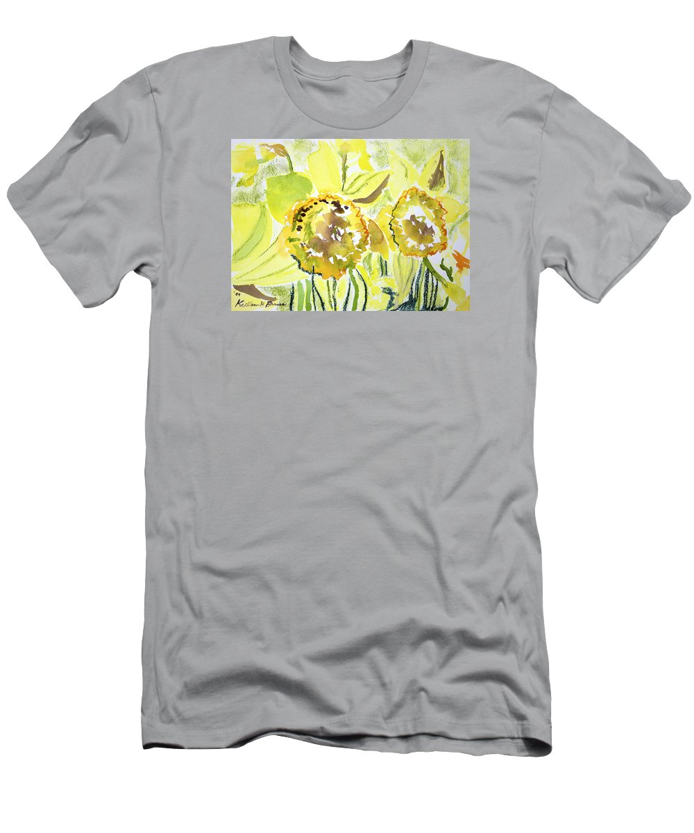 T-Shirt featuring the painting Yellow Flowers by Kathleen Barnes