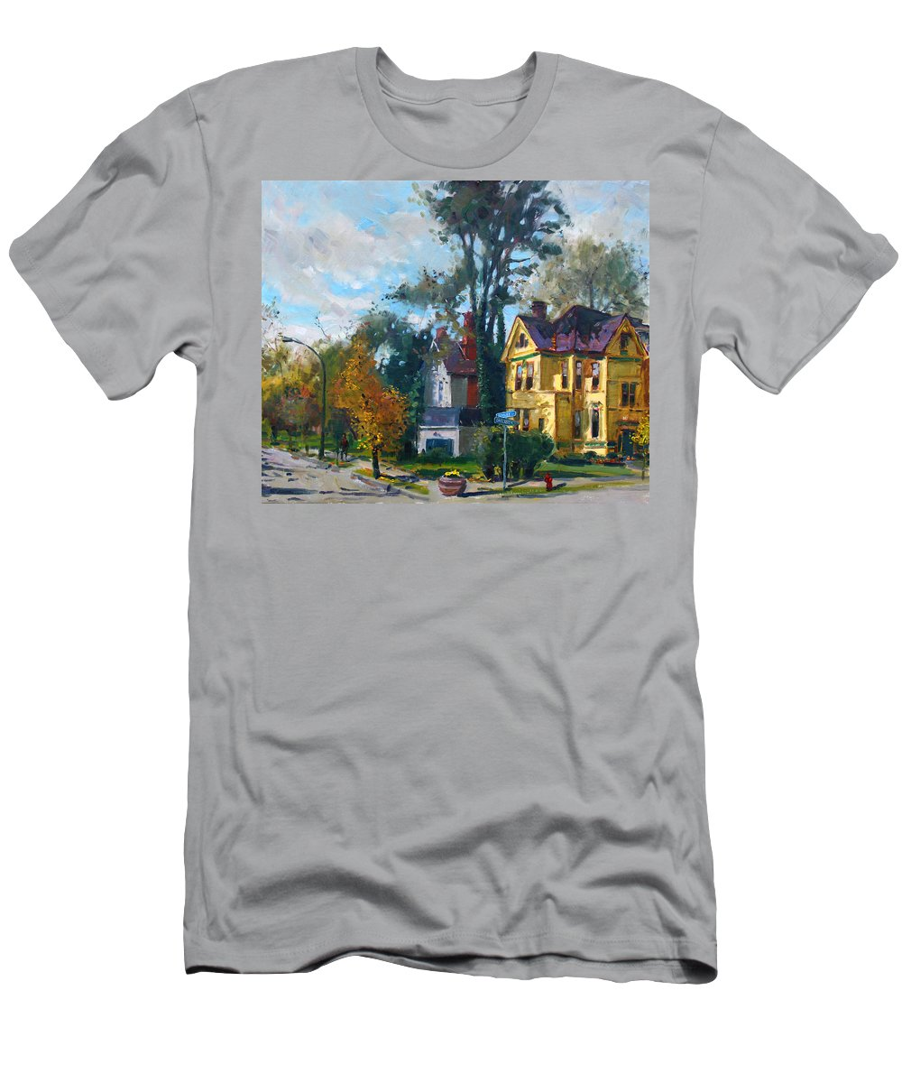 Yellow House Men's T-Shirt (Athletic Fit) featuring the painting Yellow House by Ylli Haruni
