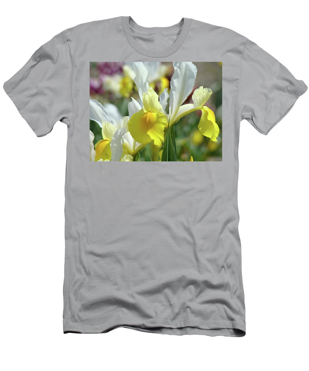 �irises Artwork� Men's T-Shirt (Athletic Fit) featuring the photograph Yellow Irises Flowers Iris Flower Art Print Floral Botanical Art Baslee Troutman by Baslee Troutman