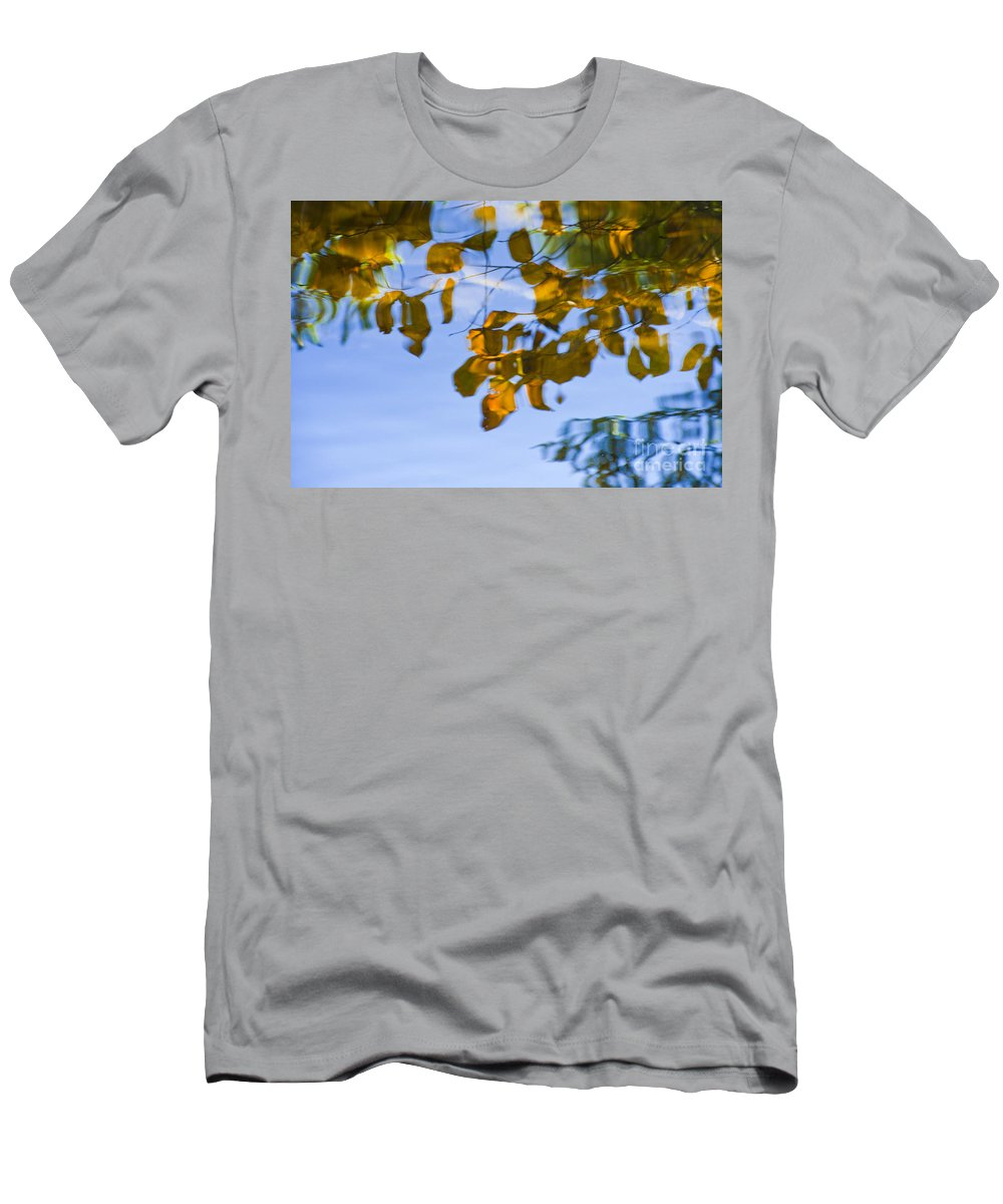 Abstract Men's T-Shirt (Athletic Fit) featuring the photograph Yellow Leaf Reflections by Bill Brennan - Printscapes