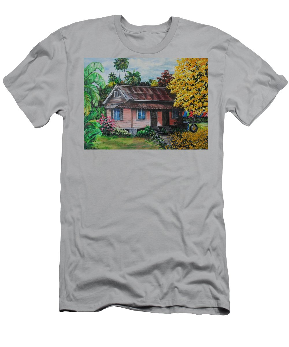 Old House T-Shirt featuring the painting Yellow Poui Time by Karin Dawn Kelshall- Best