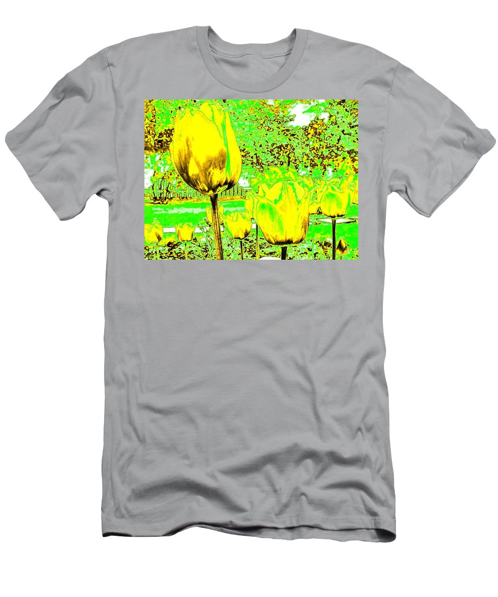Abstract Men's T-Shirt (Athletic Fit) featuring the digital art Yellow Tulips Abstract by Will Borden