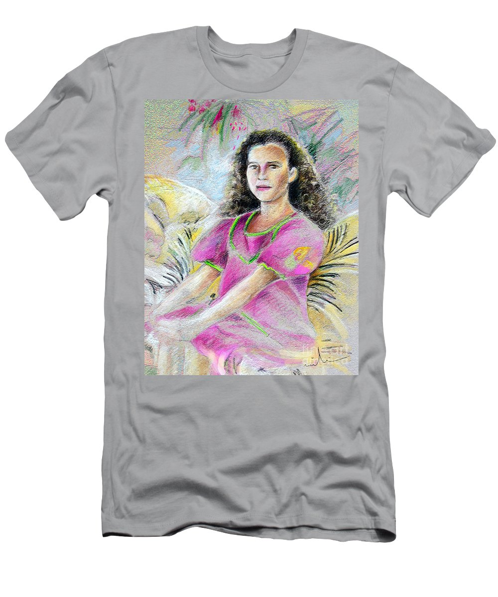 Younf Girl From Tahiti Portrait Men's T-Shirt (Athletic Fit) featuring the painting Young Girl From Tahiti by Miki De Goodaboom
