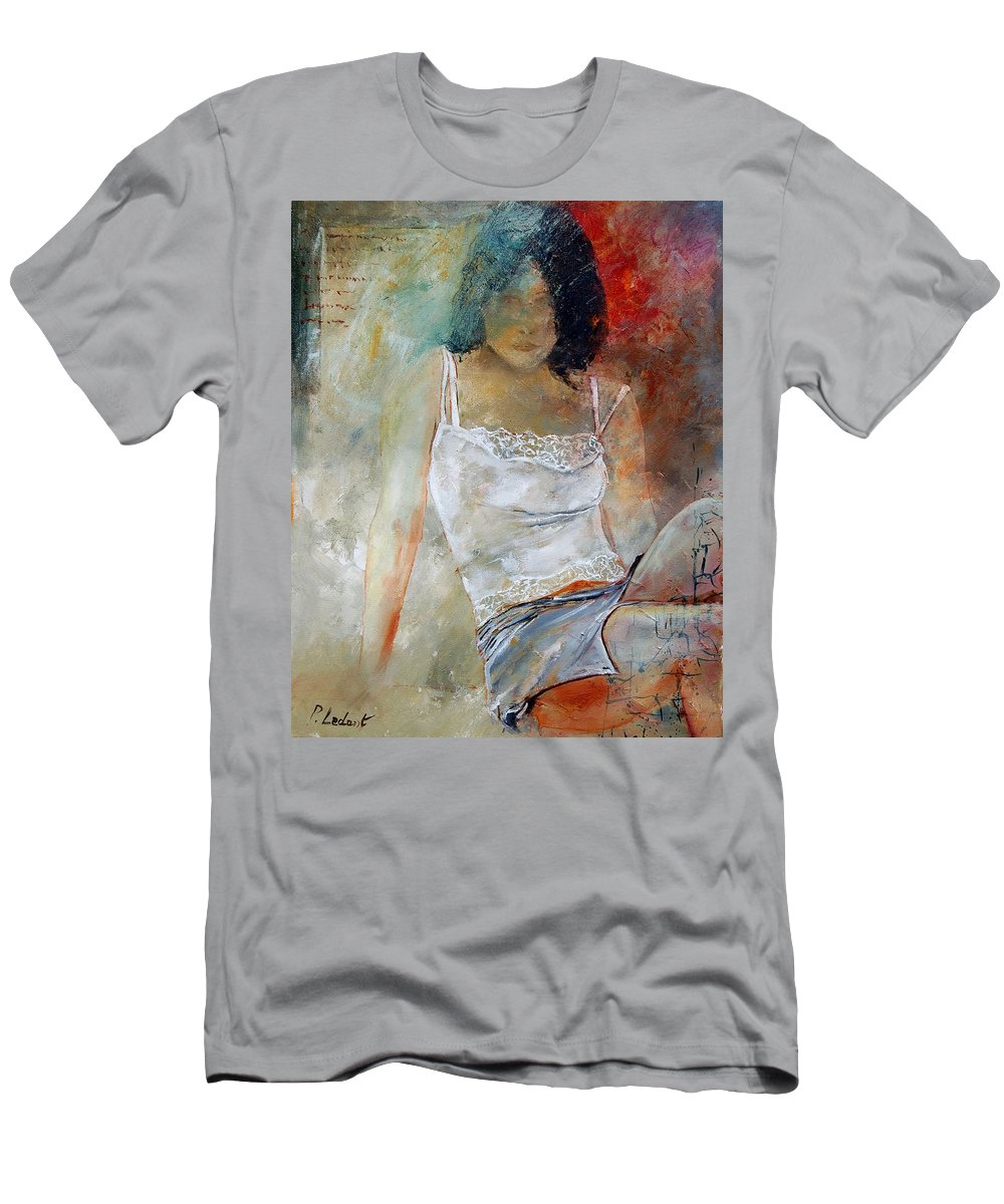 Nude Men's T-Shirt (Athletic Fit) featuring the painting Young Girl Sitting by Pol Ledent