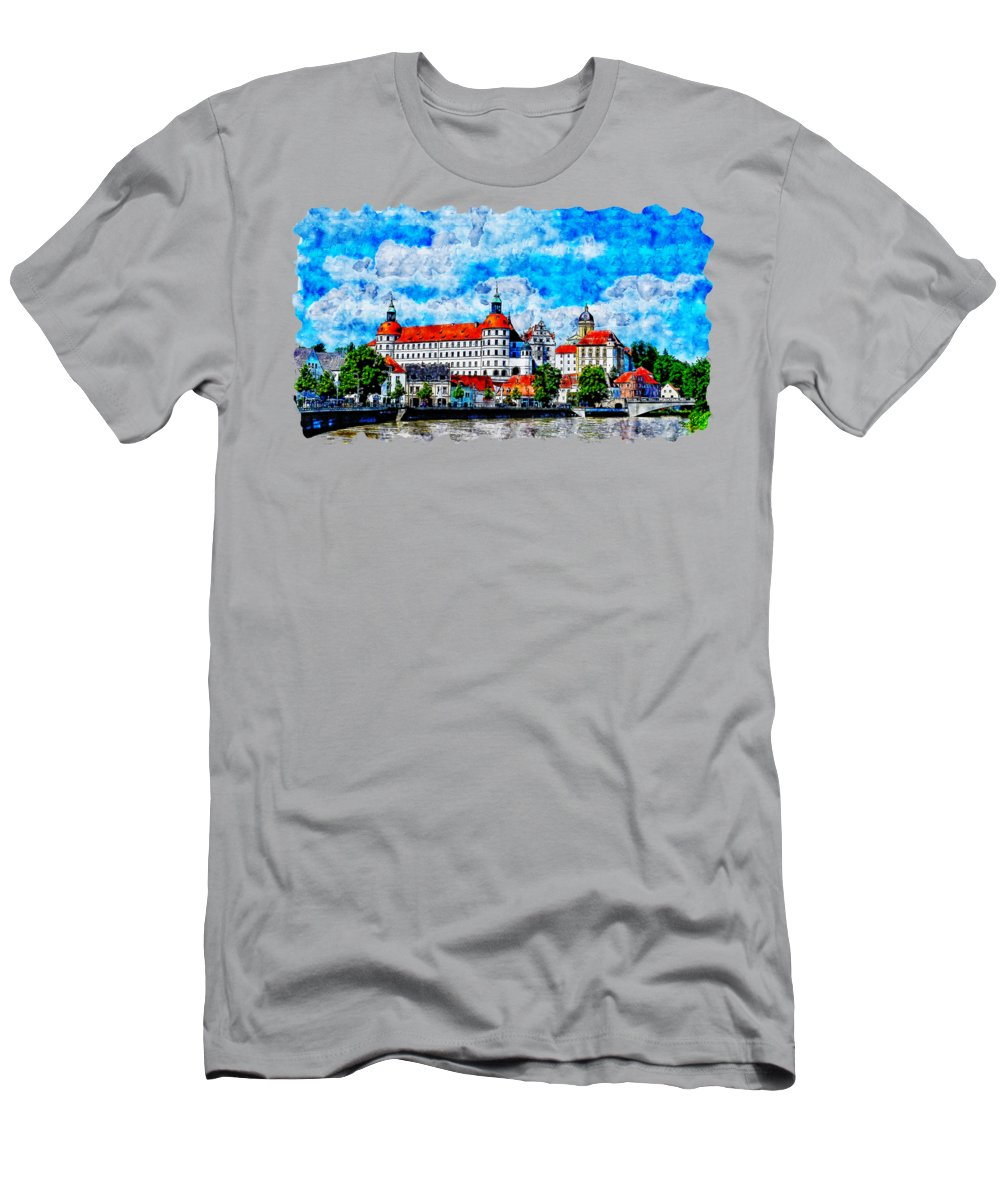 Art Men's T-Shirt (Athletic Fit) featuring the drawing Cityscape Watercolor Drawing - Castle by Hasan Ahmed