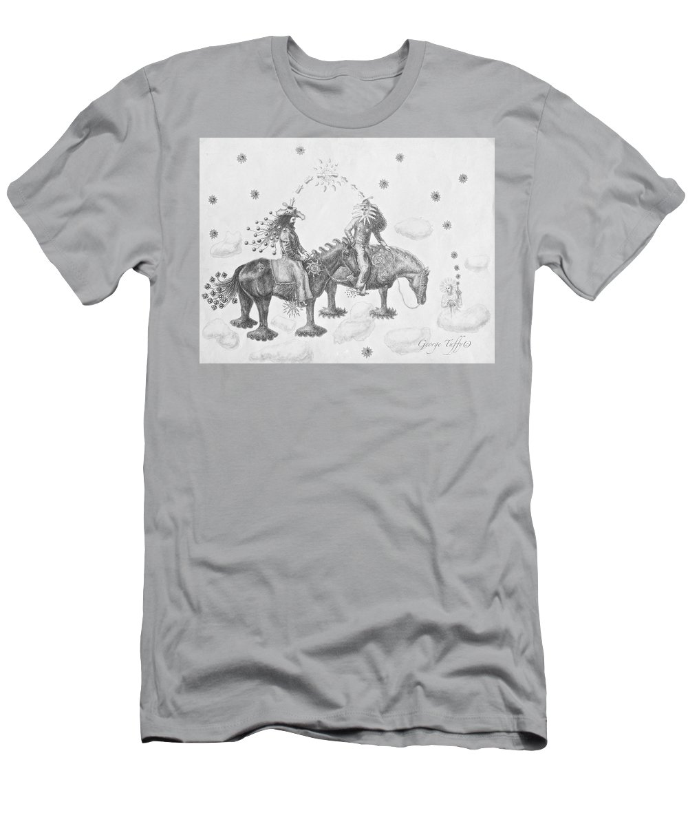Surrealism Men's T-Shirt (Athletic Fit) featuring the drawing Cosmic Cowboys by George Tuffy