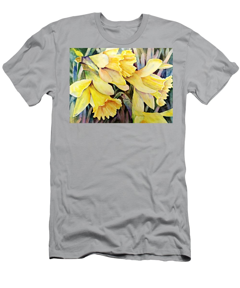 Daffodil Men's T-Shirt (Athletic Fit) featuring the painting Daffodils by Beth Fontenot
