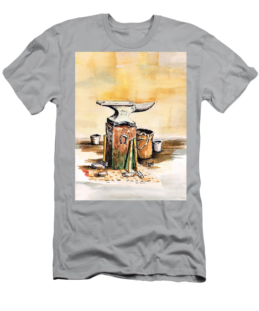 Anvil Men's T-Shirt (Athletic Fit) featuring the painting Lee's Anvil by Sam Sidders