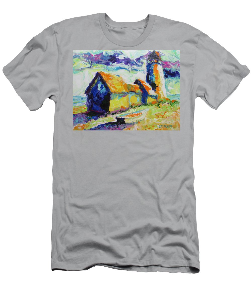 Maine Lighthouse Colorful Men's T-Shirt (Athletic Fit) featuring the painting Maine Lighthouse by Linda Emerson