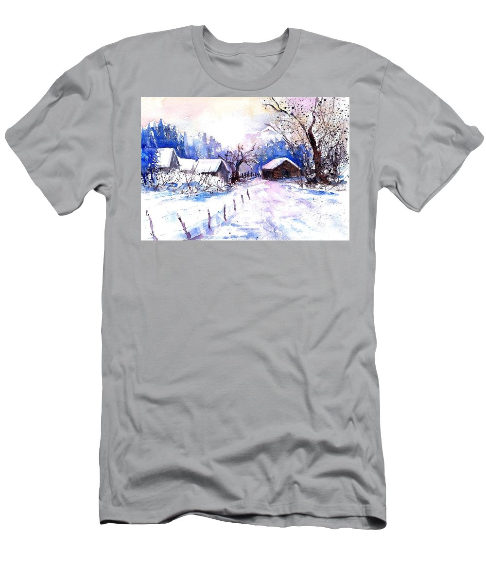 Mountain Village In Snow T-Shirt featuring the painting Mountain Village In Snow by Sabina Von Arx