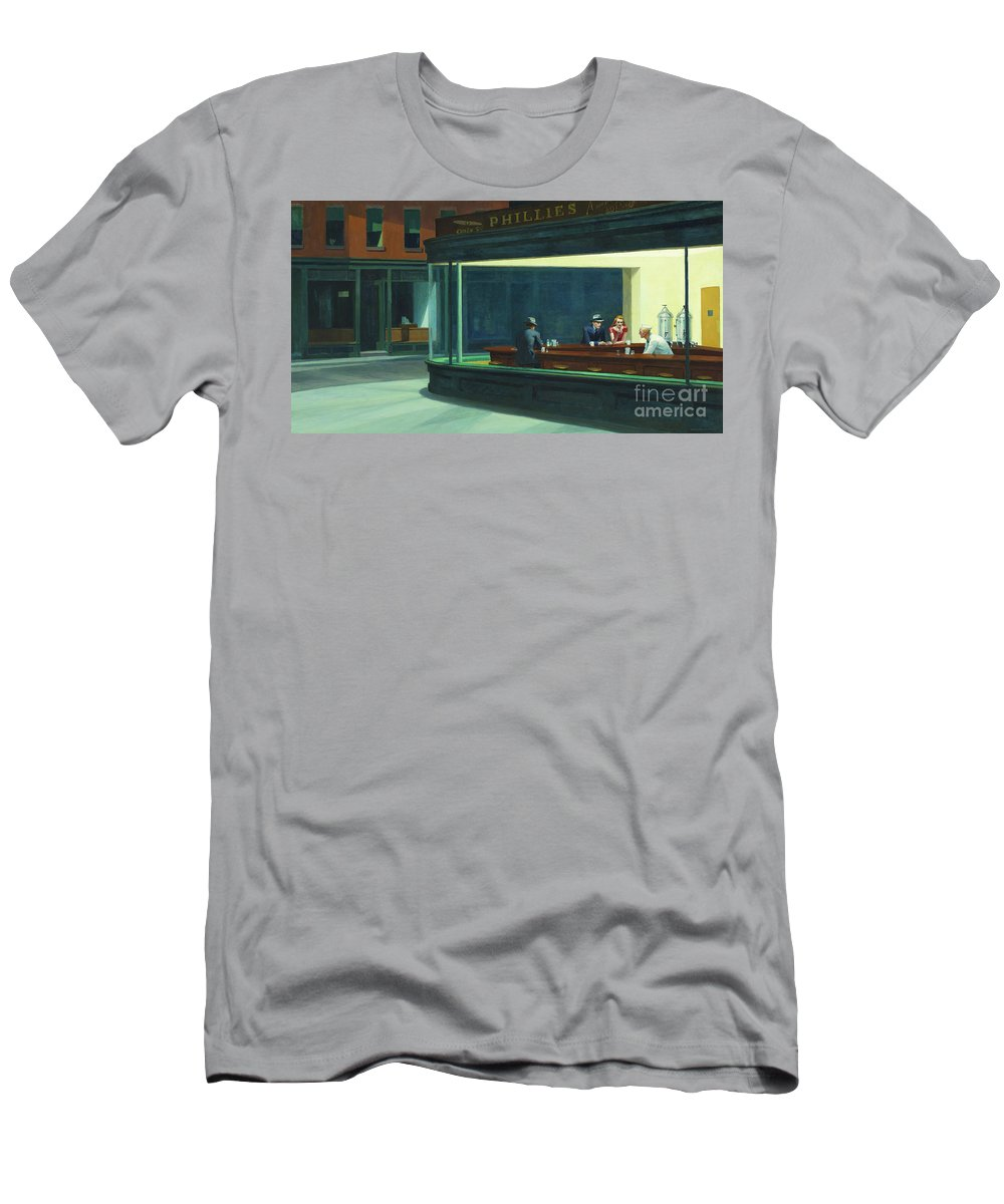 Hopper Men's T-Shirt (Athletic Fit) featuring the painting Nighthawks, 1942 by Edward Hopper