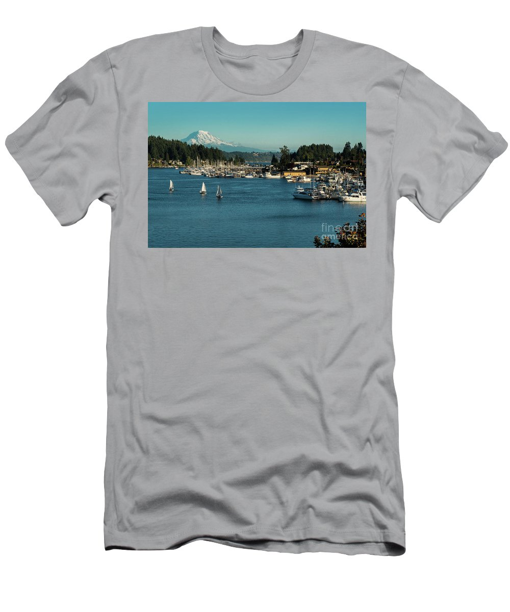 Sailboats At Gig Harbor Marina With Mount Rainier In The Background Men's T-Shirt (Athletic Fit) featuring the photograph Sailboats At Gig Harbor Marina With Mount Rainier In The Background by Yefim Bam