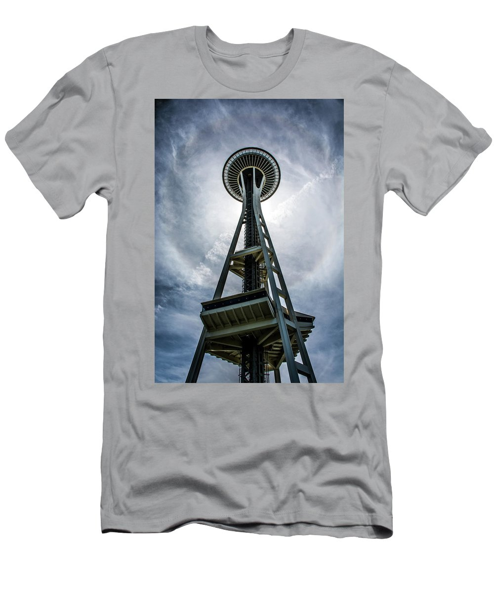 Space Needle Men's T-Shirt (Athletic Fit) featuring the photograph Space Needle by Joel Buhs