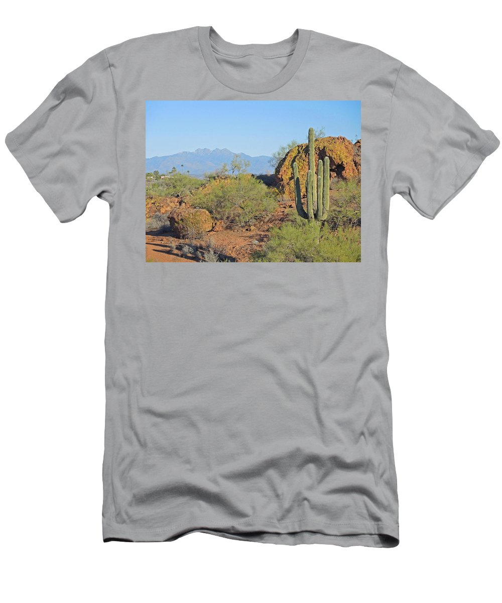Fountain Hills Botanical Garden Men's T-Shirt (Athletic Fit) featuring the photograph View To Four Peaks by Lynda Lehmann