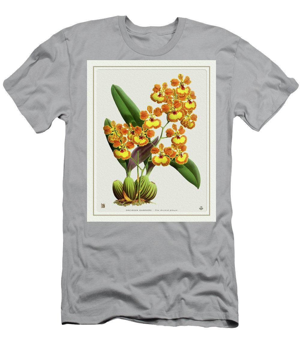 Vintage Men's T-Shirt (Athletic Fit) featuring the drawing Orchid Vintage Print On Tinted Paperboard by Baptiste Posters
