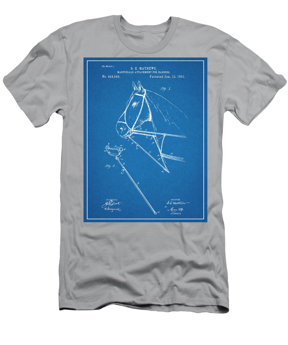 Art & Collectibles Men's T-Shirt (Athletic Fit) featuring the drawing 1891 Horse Harness Attachment Patent Print Blueprint by Greg Edwards
