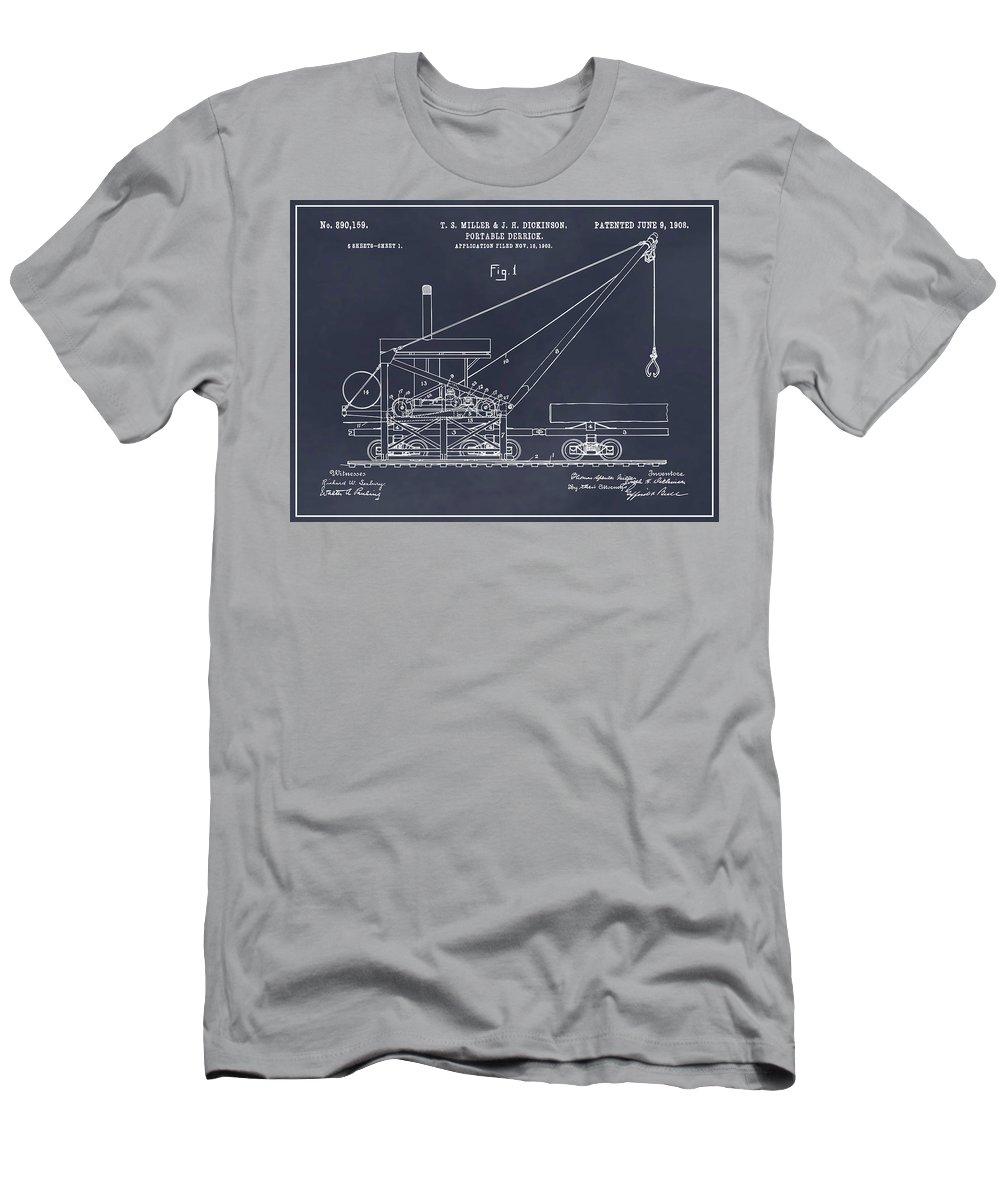 1903 Railroad Derrick Patent Print Men's T-Shirt (Athletic Fit) featuring the drawing 1903 Railroad Derrick Blackboard Patent Print by Greg Edwards
