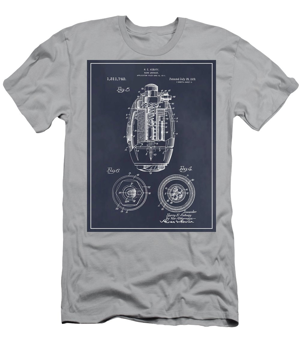 1917 Hand Grenade Patent Print Men's T-Shirt (Athletic Fit) featuring the drawing 1917 Hand Grenade Blackboard Patent Print by Greg Edwards