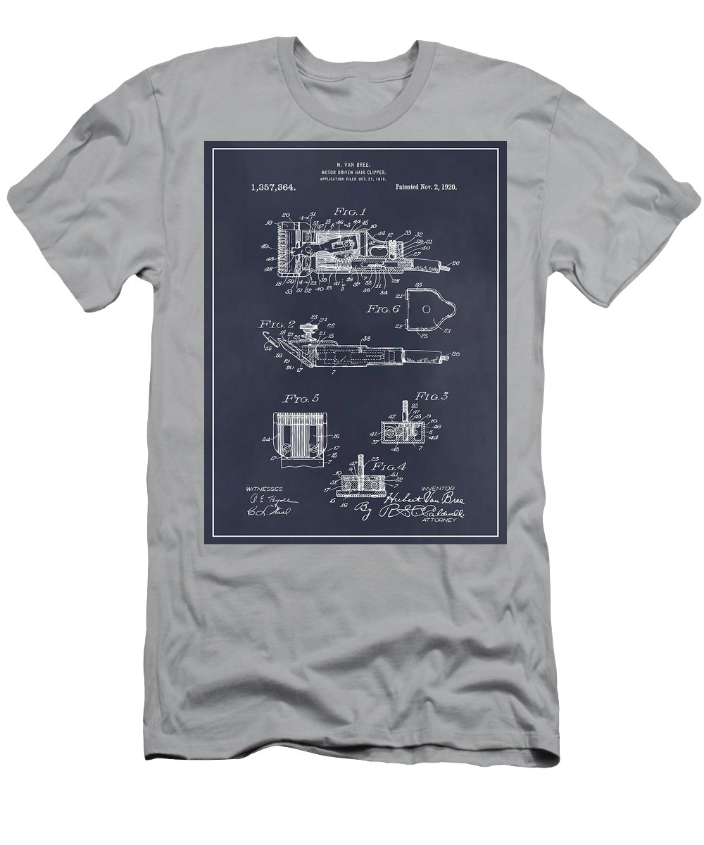 1919 Motor Driven Hair Clipper Patent Print Men's T-Shirt (Athletic Fit) featuring the drawing 1919 Motor Driven Hair Clipper Blackboard Patent Print by Greg Edwards