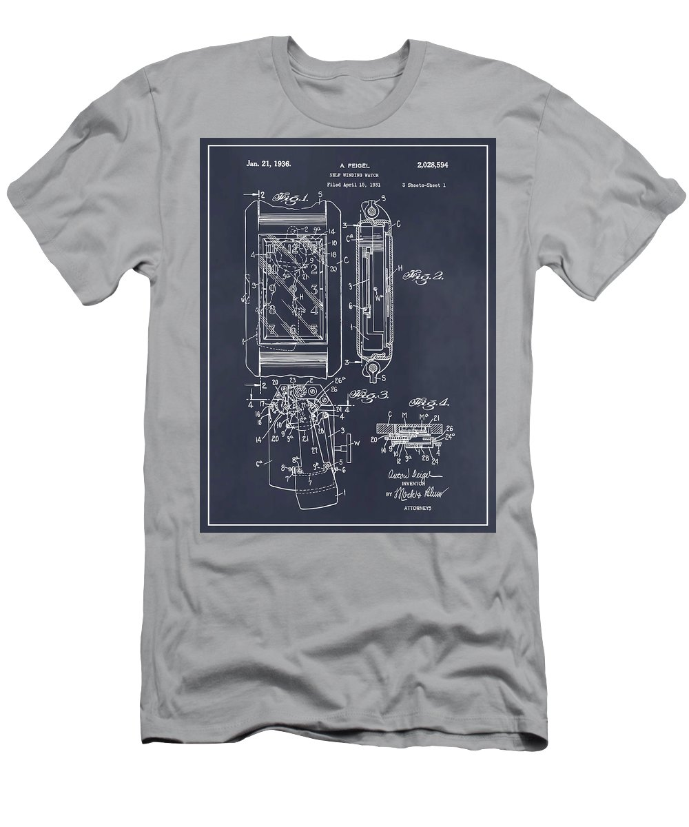Art & Collectibles Men's T-Shirt (Athletic Fit) featuring the drawing 1931 Self Winding Watch Patent Print Blackboard by Greg Edwards