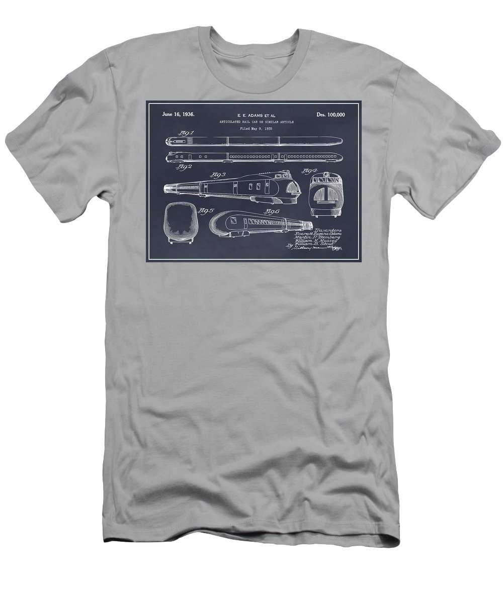 1935 Union Pacific M-10000 Railroad Patent Print Men's T-Shirt (Athletic Fit) featuring the drawing 1935 Union Pacific M-10000 Railroad Blackboard Patent Print by Greg Edwards