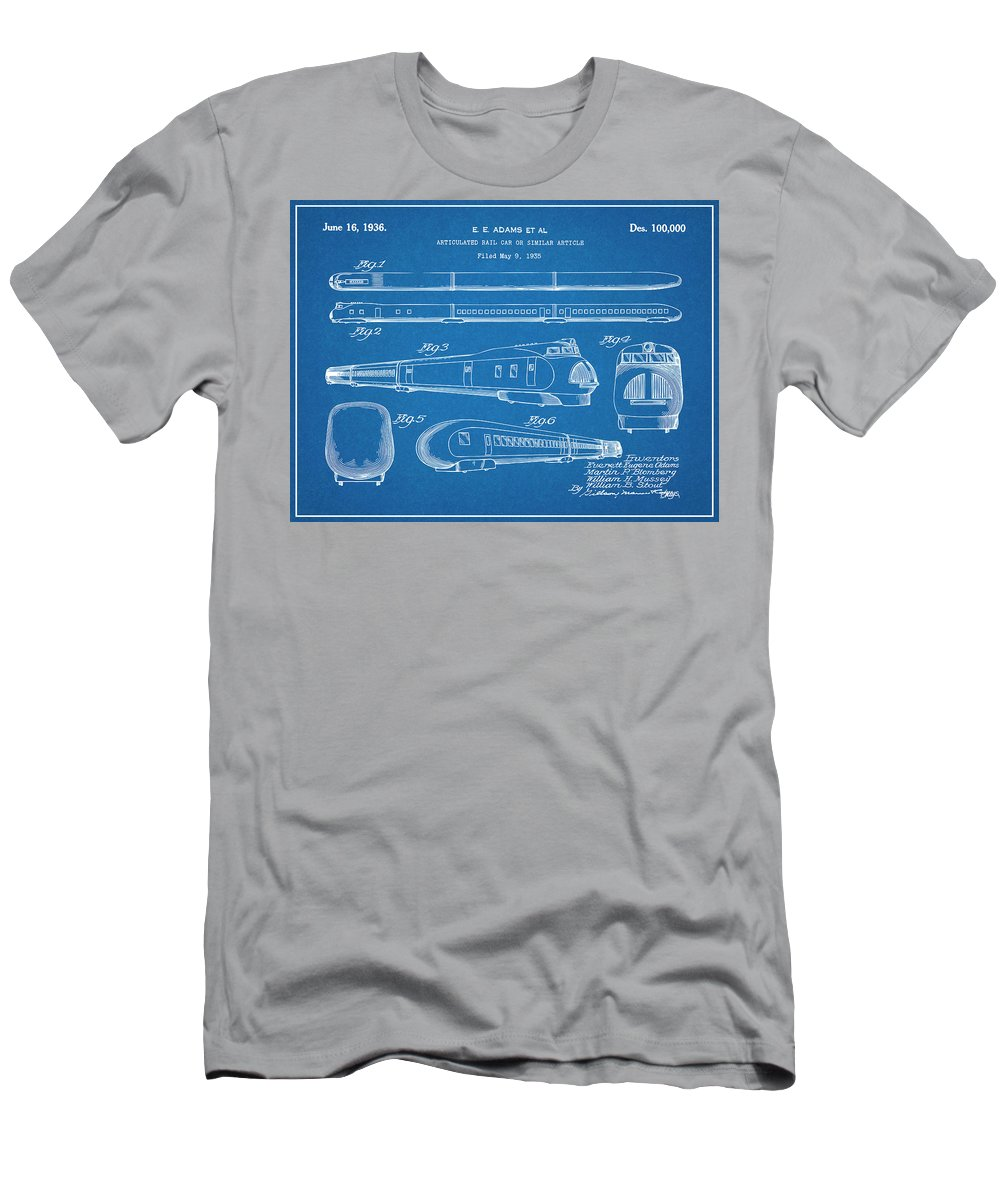 1935 Union Pacific M-10000 Railroad Patent Print Men's T-Shirt (Athletic Fit) featuring the drawing 1935 Union Pacific M-10000 Railroad Blueprint Patent Print by Greg Edwards