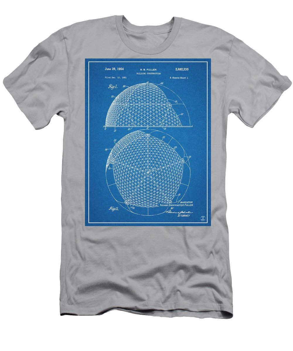 1954 Geodesic Dome Patent Print Men's T-Shirt (Athletic Fit) featuring the drawing 1954 Geodesic Dome Blueprint Patent Print by Greg Edwards