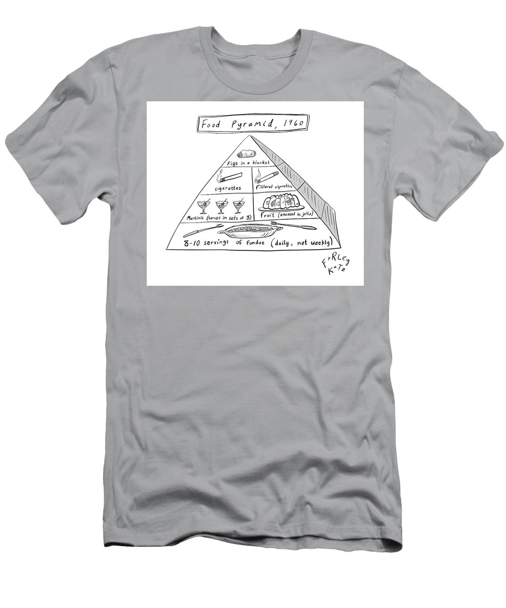 Food Pyramid T-Shirt featuring the drawing 1960s Food Pyramid by Farley Katz
