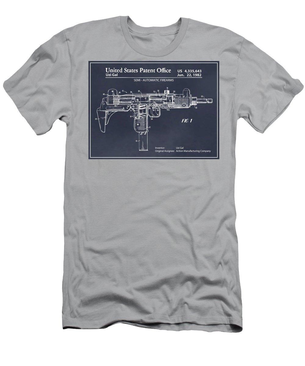 1982 Uzi Submachine Gun Patent Print Men's T-Shirt (Athletic Fit) featuring the drawing 1982 Uzi Submachine Gun Blackboard Patent Print by Greg Edwards