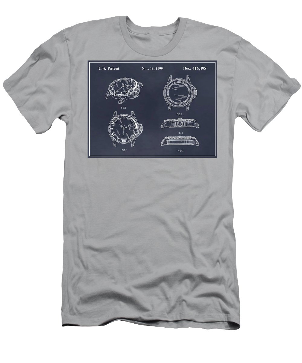 Art & Collectibles Men's T-Shirt (Athletic Fit) featuring the drawing 1999 Rolex Diving Watch Patent Print Blackboard by Greg Edwards