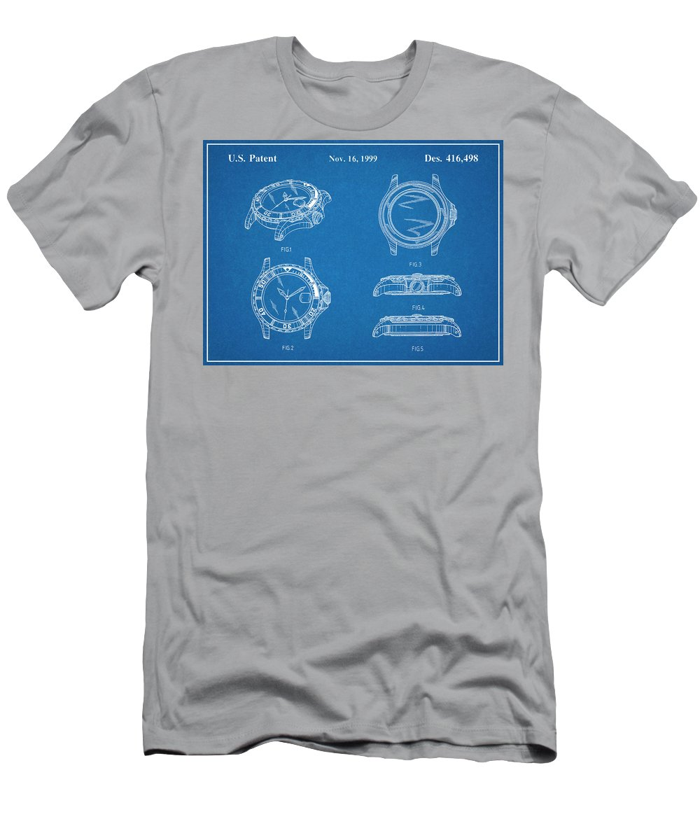 Art & Collectibles Men's T-Shirt (Athletic Fit) featuring the drawing 1999 Rolex Diving Watch Patent Print Blueprint by Greg Edwards