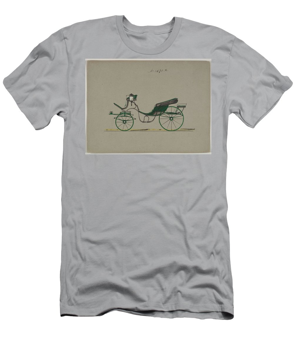Vintage Men's T-Shirt (Athletic Fit) featuring the painting Design For Cabriolet Or Victoria, No. 3558 1879 by MotionAge Designs