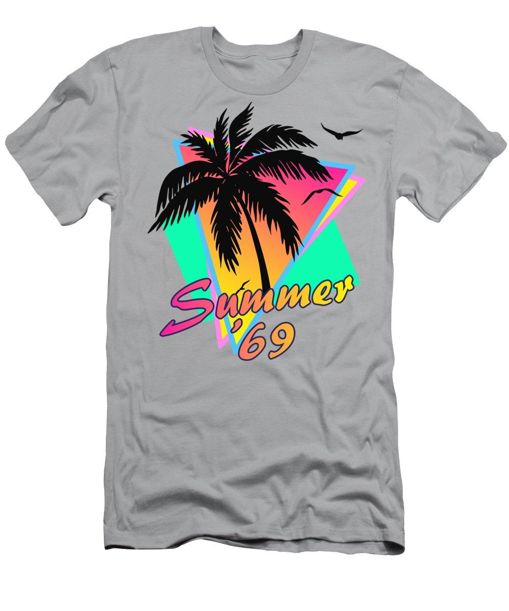 69 T-Shirt featuring the digital art Summer of 69 by Filip Schpindel