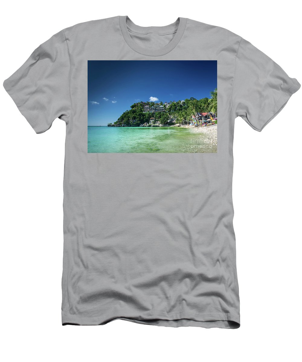 Asia Men's T-Shirt (Athletic Fit) featuring the photograph Diniwid Resort Beach View In Tropical Paradise Boracay Island Ph by Jacek Malipan