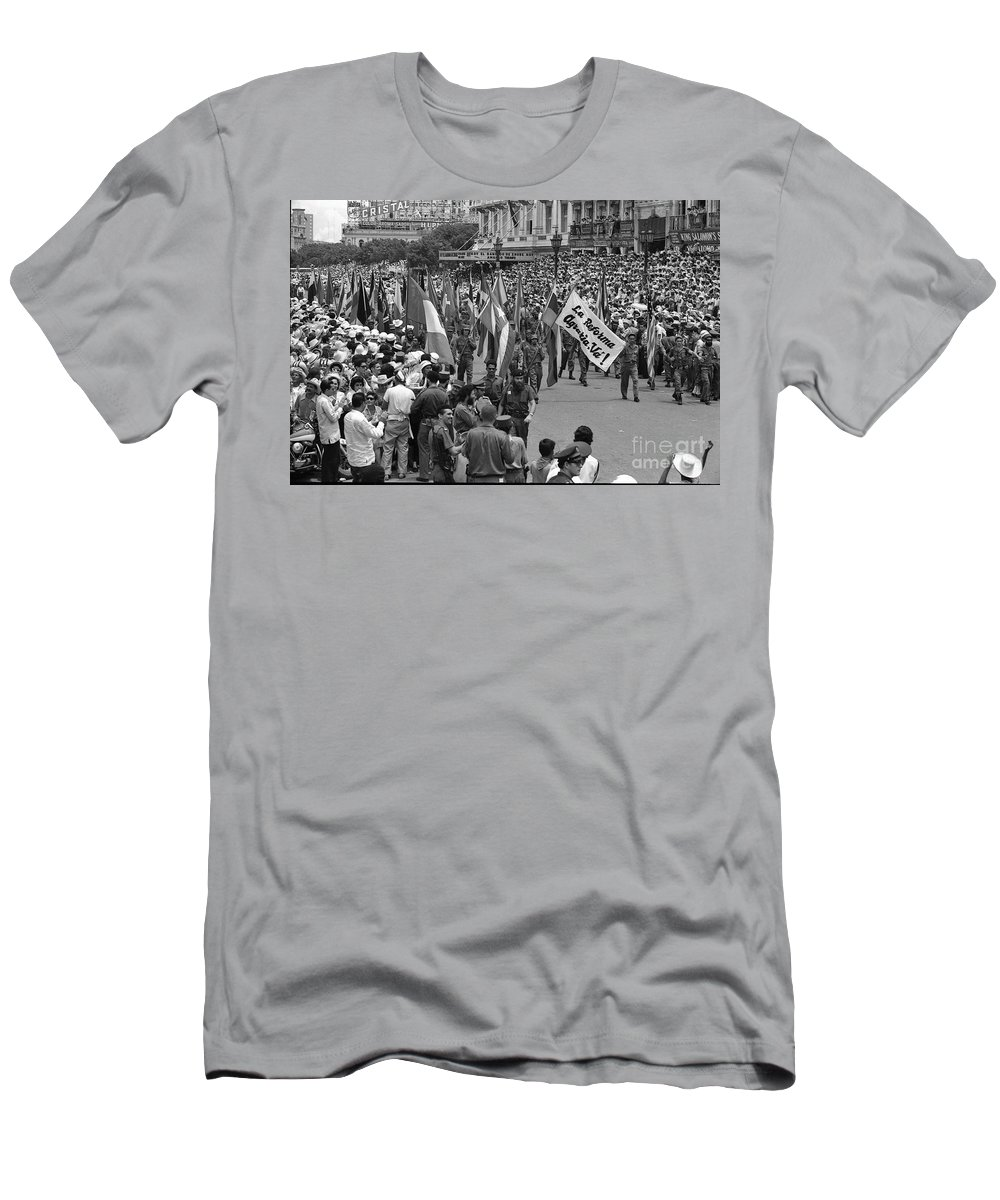 Marchers Men's T-Shirt (Athletic Fit) featuring the photograph 60th Anniversary Of Russian Socialist October Revolution by Venancio Diaz