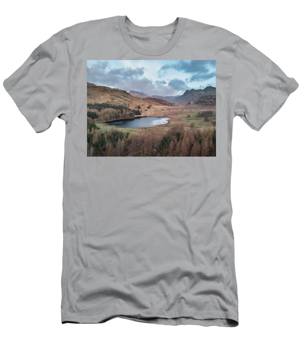 Drone Men's T-Shirt (Athletic Fit) featuring the photograph Beautiufl Unique Drone Aerial Sunrise Landscape Image Of Blea Ta by Matthew Gibson