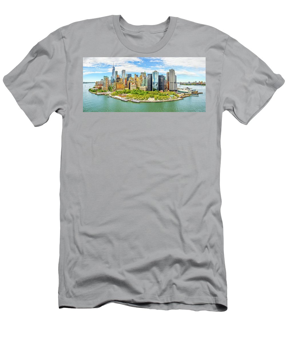 New York Men's T-Shirt (Athletic Fit) featuring the photograph Aerial Panorama Of Downtown New York Skyline by Mihai Andritoiu