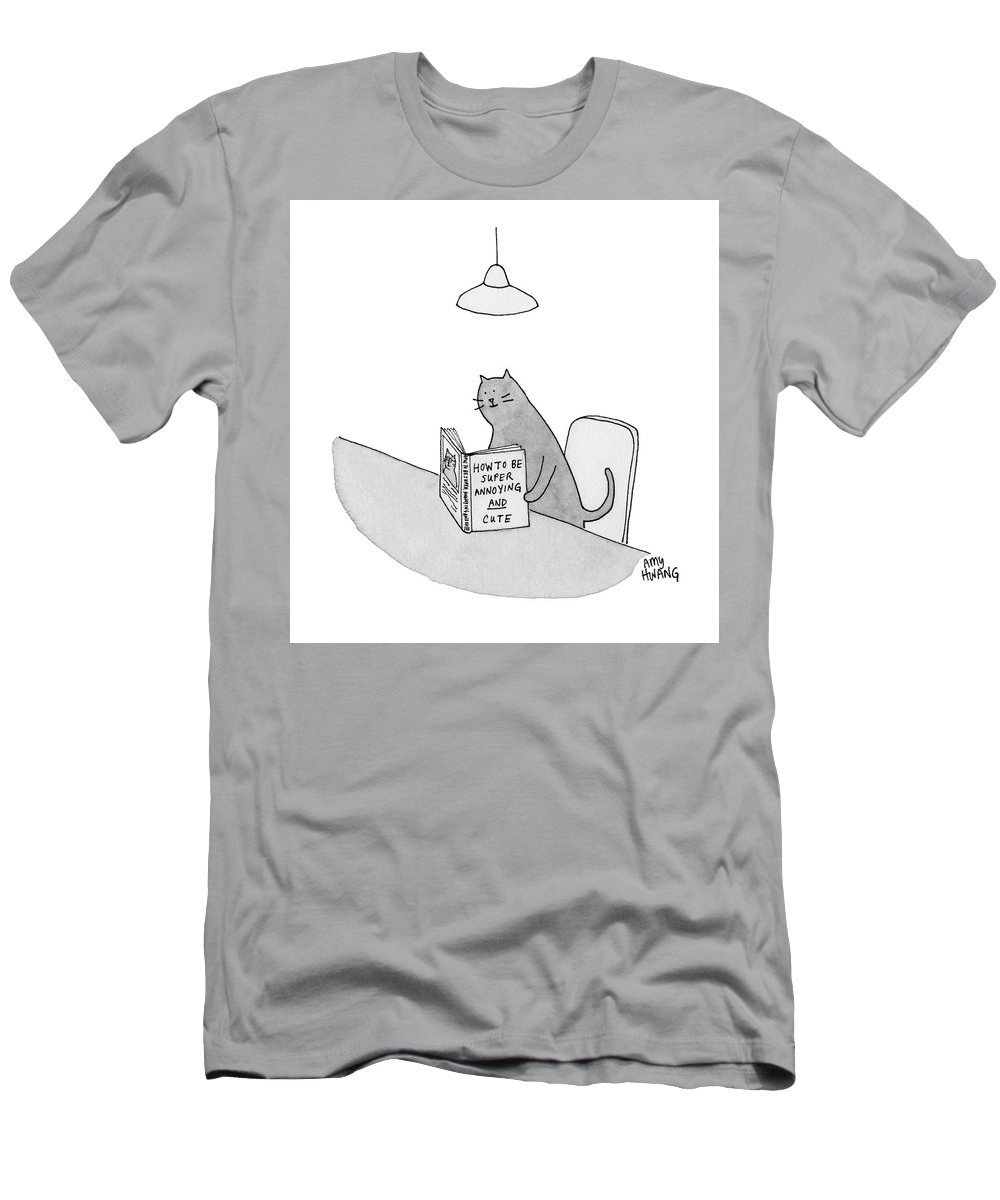 Cationless T-Shirt featuring the drawing Annoying and Cute by Amy Hwang