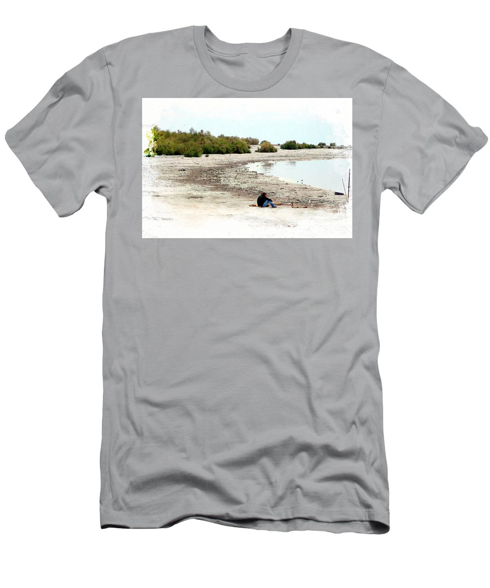 Watercolor T-Shirt featuring the photograph Beach Goers-The Salton Sea in Digital Watercolor by Colleen Cornelius