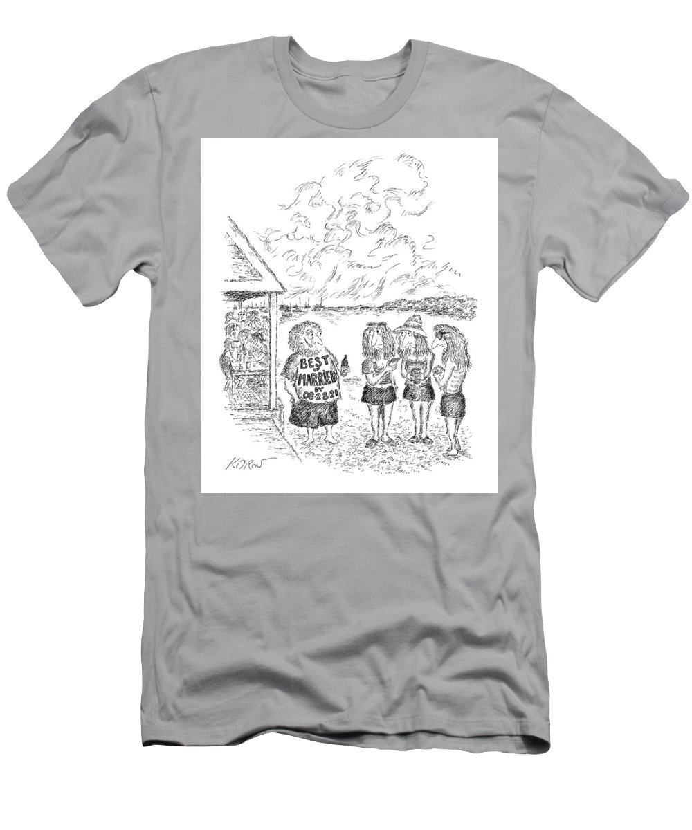 Captionless T-Shirt featuring the drawing Best If Married By by Edward Koren