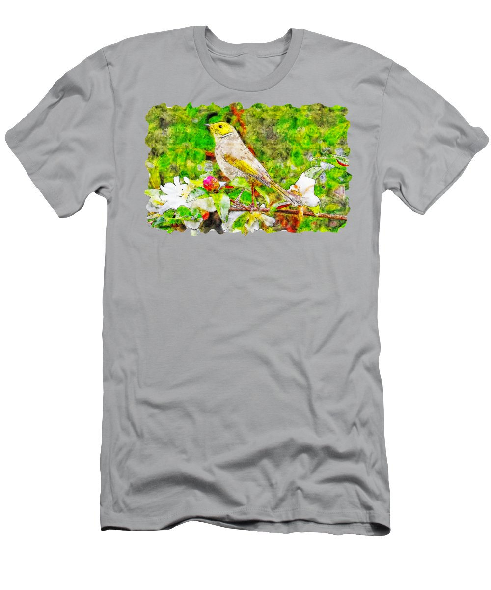 Art Men's T-Shirt (Athletic Fit) featuring the drawing Bird Above The Branch Watercolor Drawing 	 by Hasan Ahmed