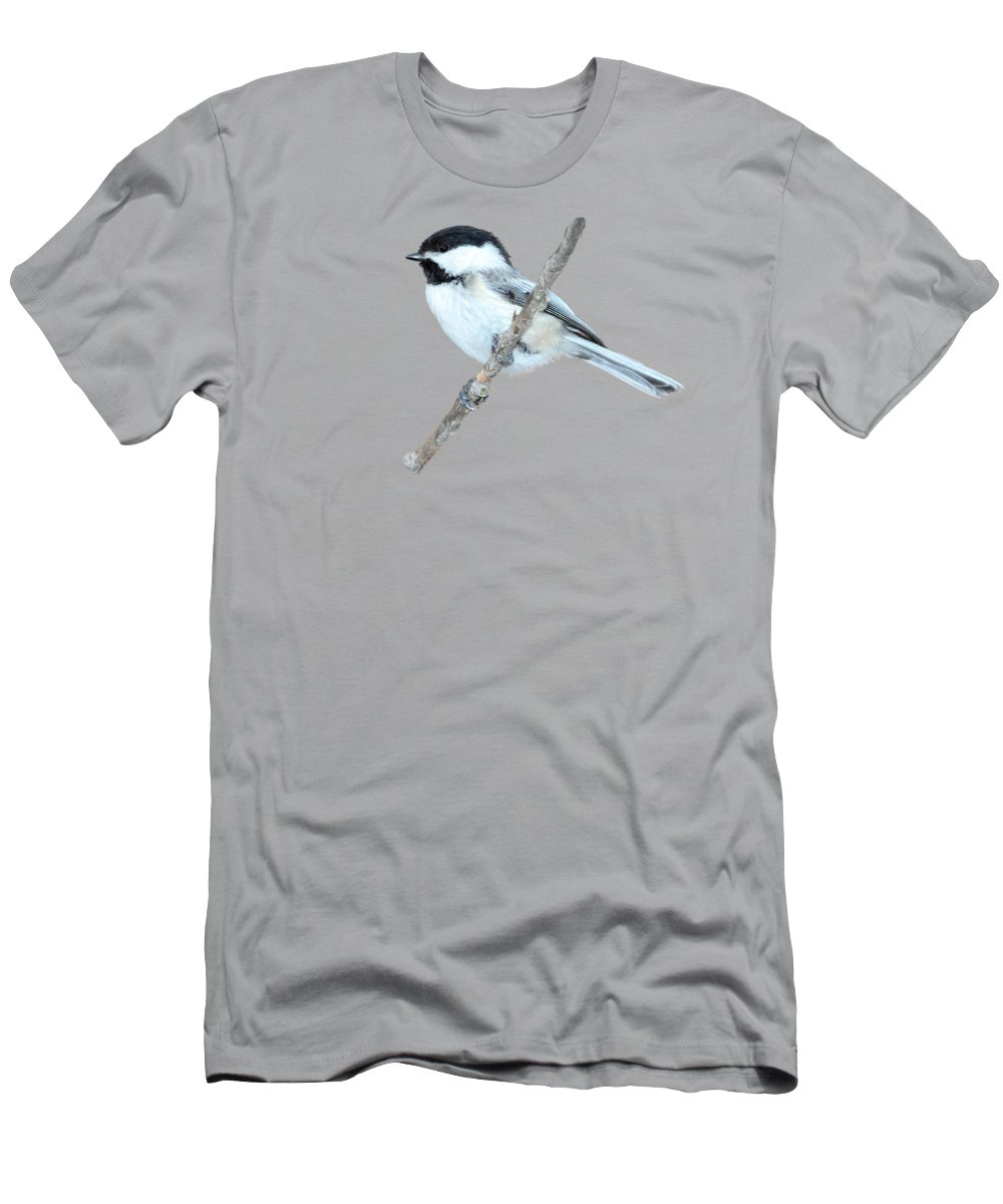 Chickadee Men's T-Shirt (Athletic Fit) featuring the photograph Black-capped Chickadee In Spring by Marlin and Laura Hum