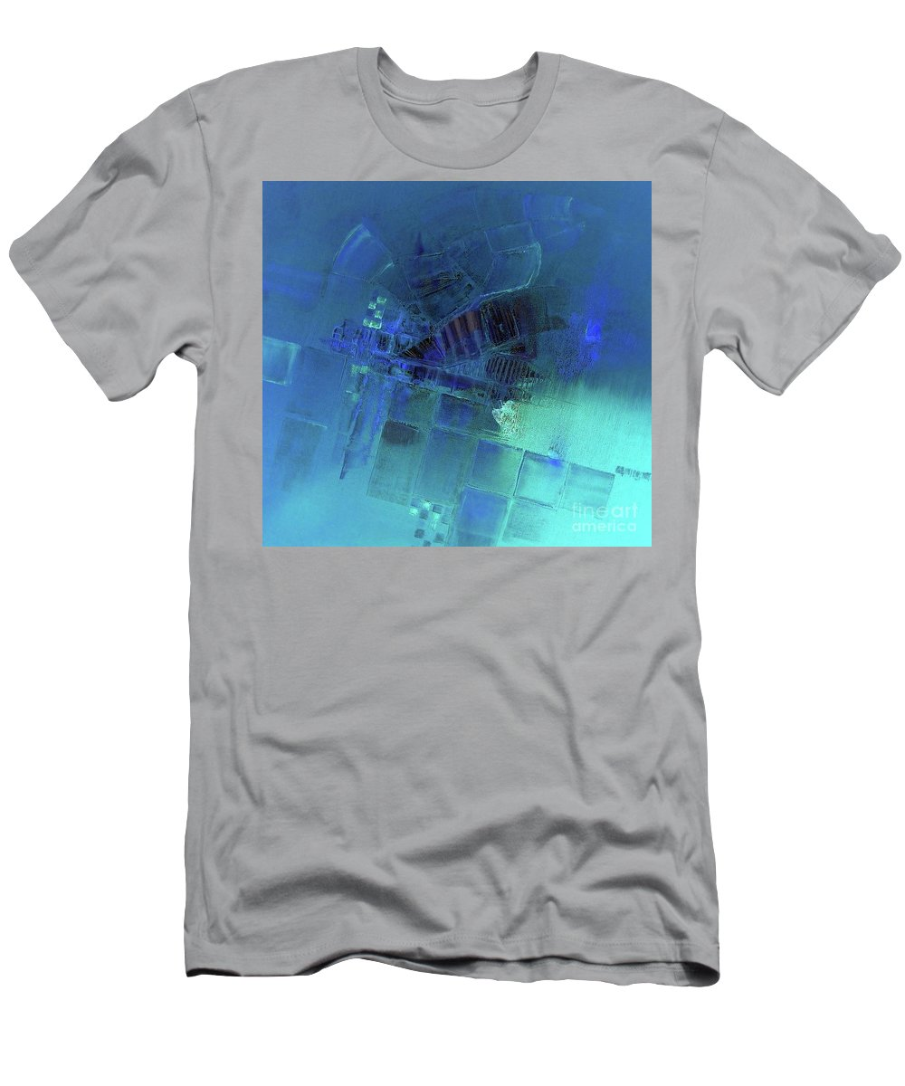 Blue Abstract Men's T-Shirt (Athletic Fit) featuring the painting Blue Azure by Vesna Antic